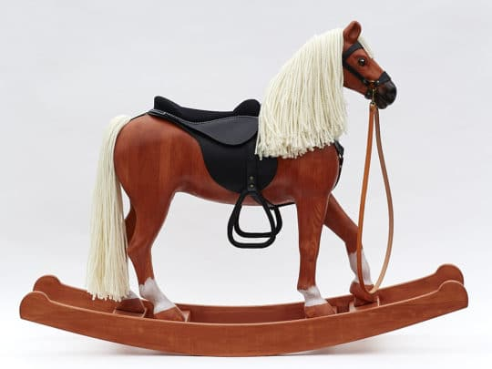 Big wooden Rocking Horse equipped with a leather harness, Chestnut Colour Finish