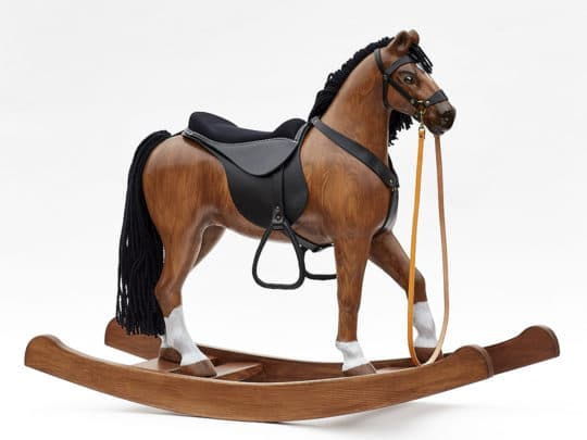Wooden rocking horse made of pinewood, seat height in 53 cm