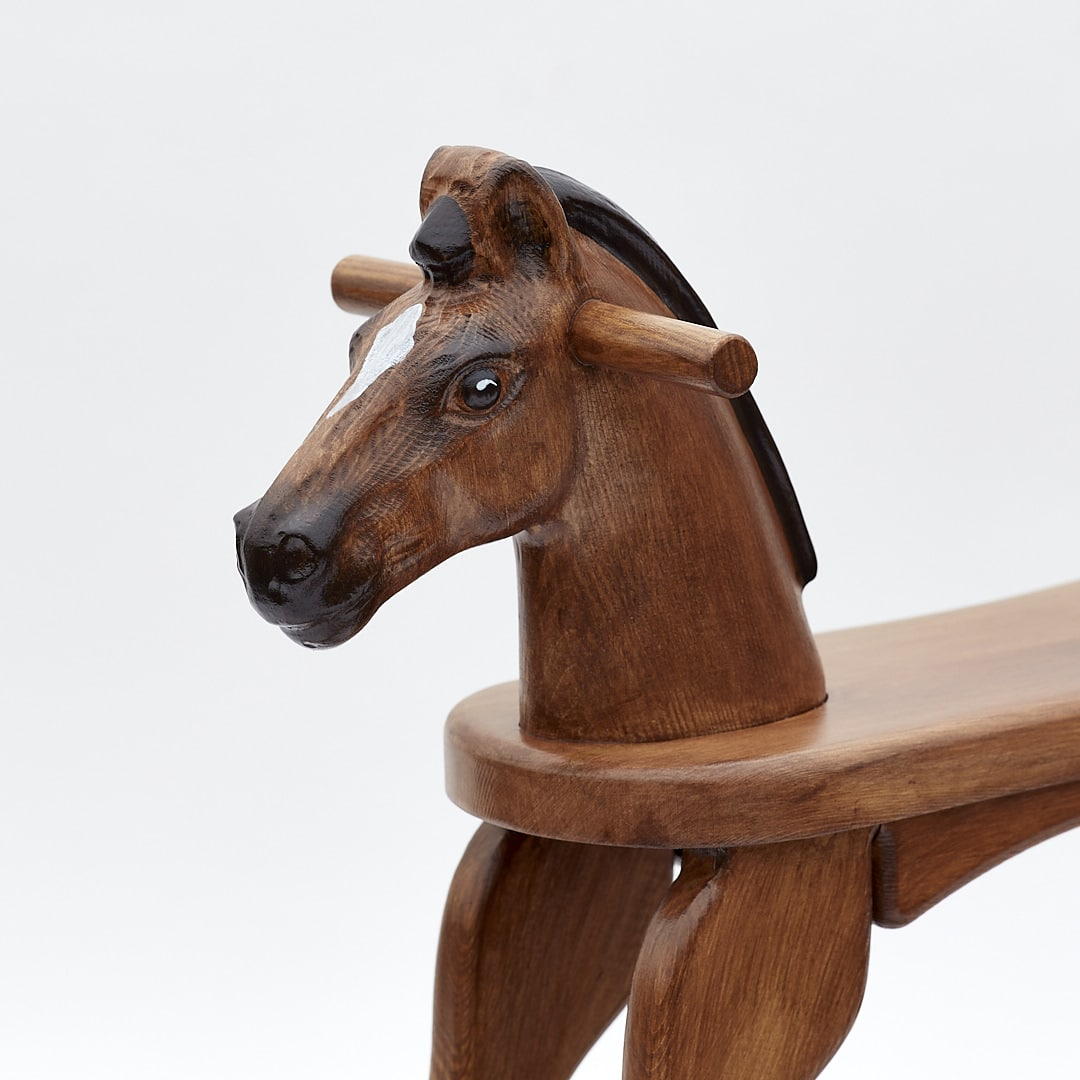 Wooden Rocking Horse, Bay colour finish, detail on head