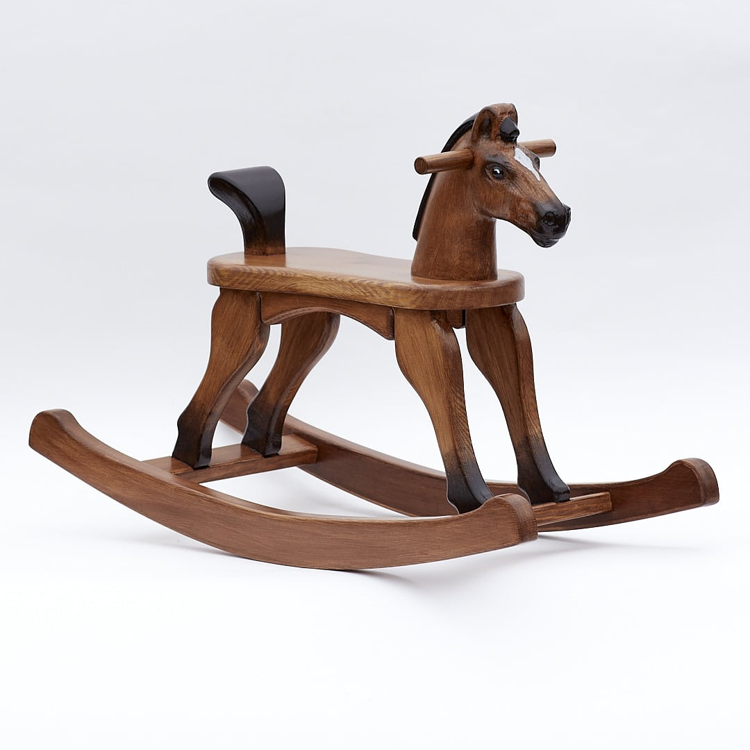 Wooden Rocking Horse, Bay colour finish, with tail