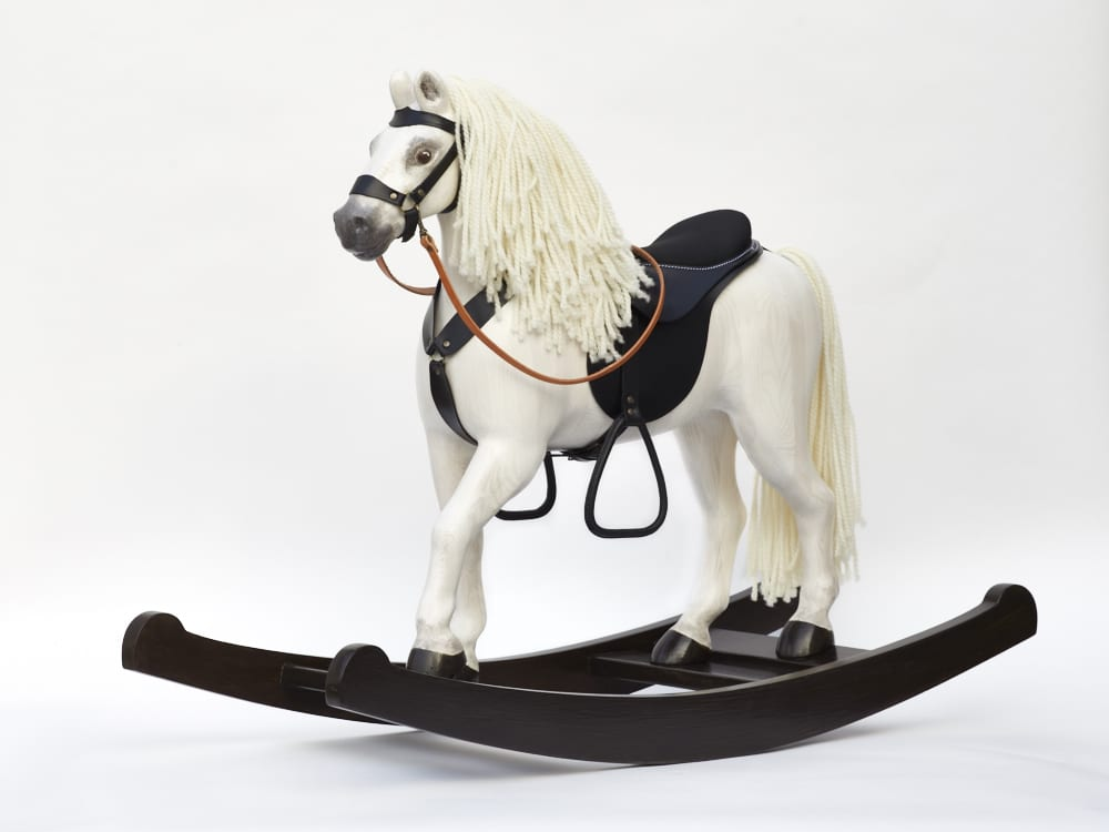 Elegant big horse Royal Spinel (white) made from massive wood placed on rockers