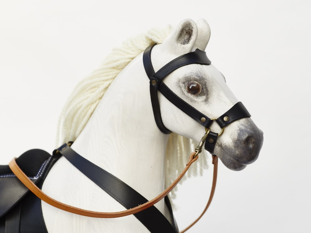 Detail of head of our biggest wooden horse Royal Spinel (white color)