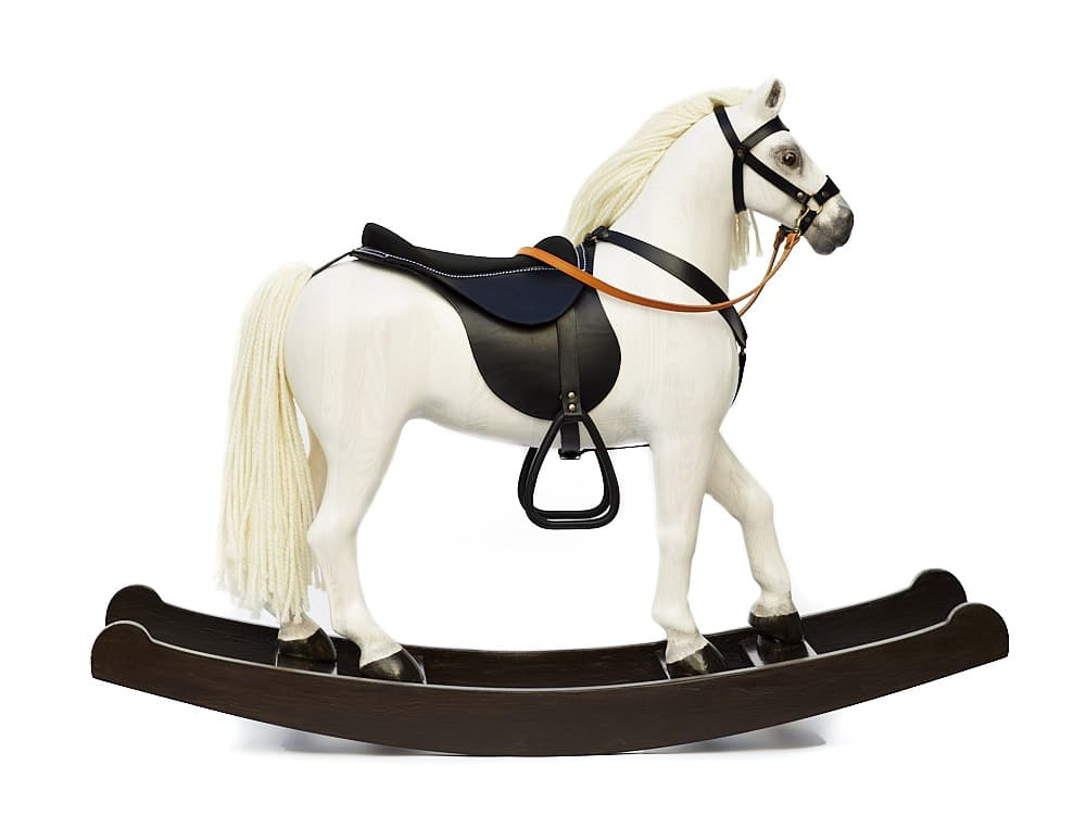 Exlusive big rocking horse Royal Spinel White with black saddle