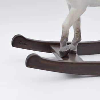 Middle sized wooden rocking horse, white colors
