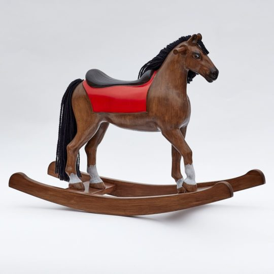 Middle sized wooden rocking horse, bay colors
