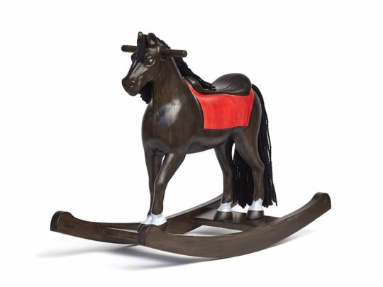 Middle sized wooden rocking horse, black colors