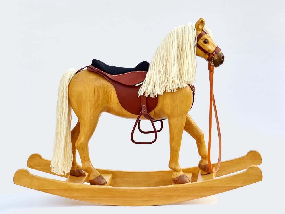 Our biggest rocking horse Royal Spinel, colored Izabella, seat height in 53 cm