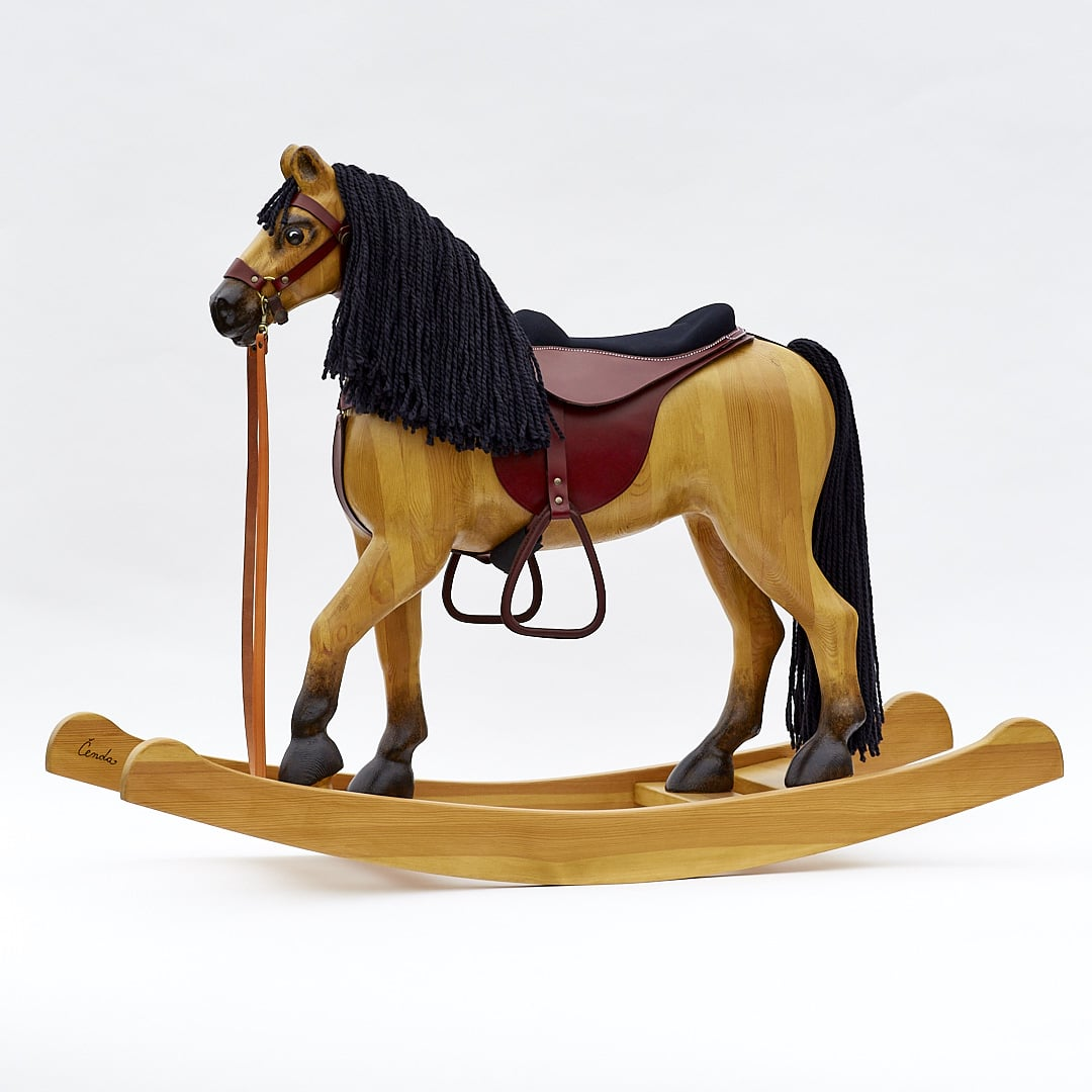 Wooden rocking horse Royal Spinel Tan with seddle from leather