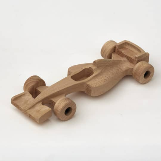 Wooden F1 car from beech wood