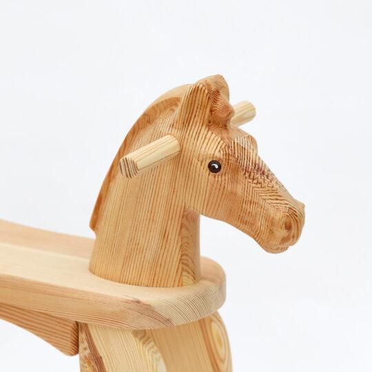 Head of Amazing Ruby rocking horse, natural surface finish