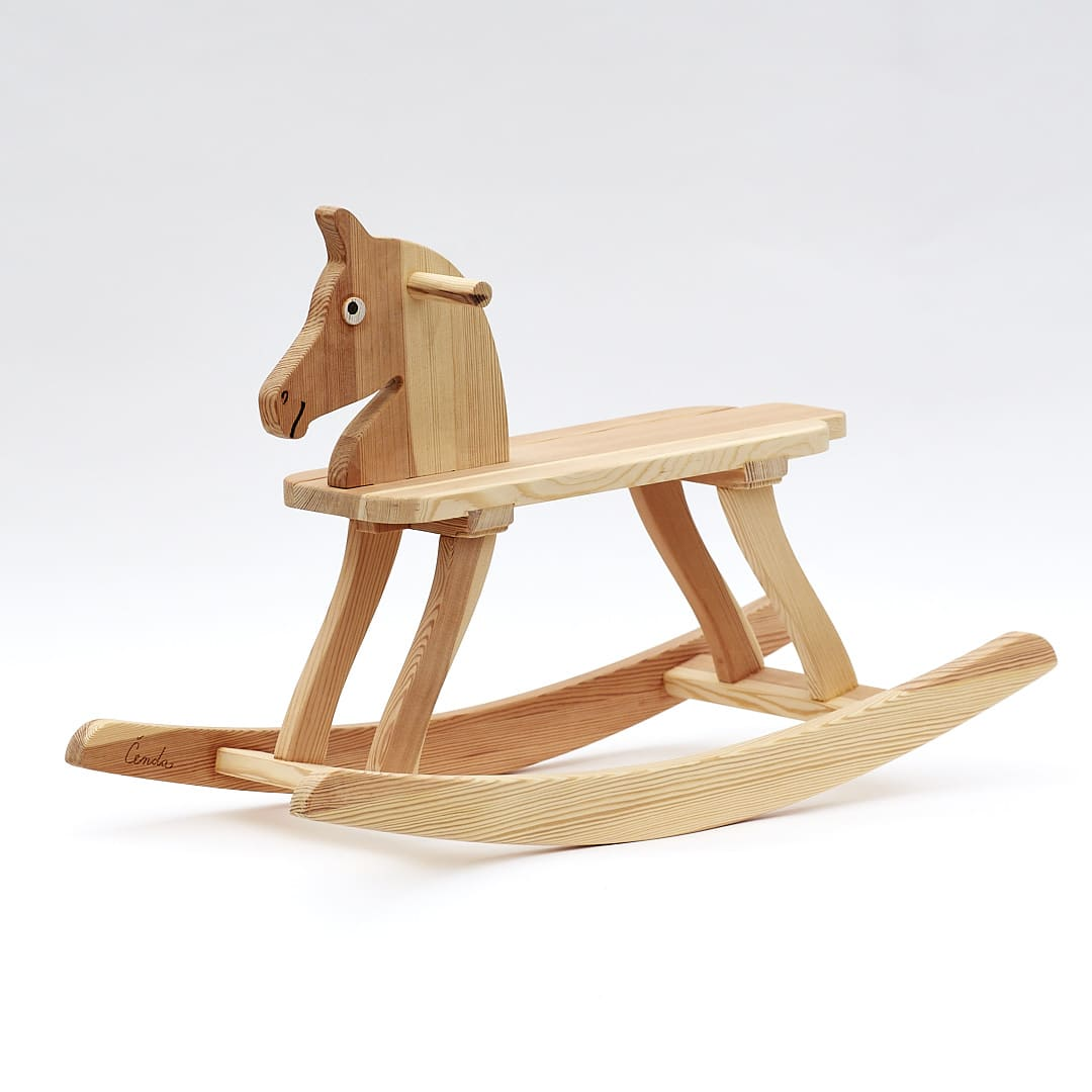 Wooden Rocking Horse, natural surface finish, seat hight 25 cm