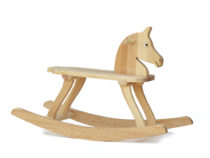 Rocking horse with seat height 25 cm made from solid pine wood