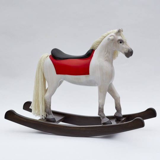 Elegant white wooden rocking horse for children - Shining Spinel