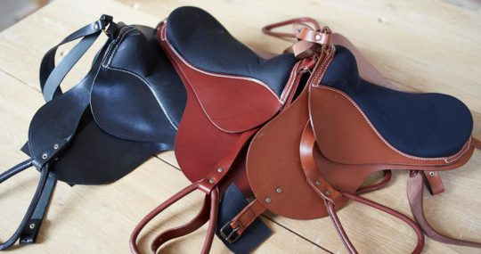 Black, redbrown and brown seddle for our rocking horses
