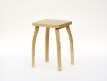 Elegant stool from pinewood, natural surface finish