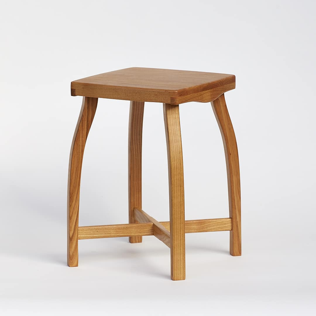 Lightweight wooden stool made from cherry