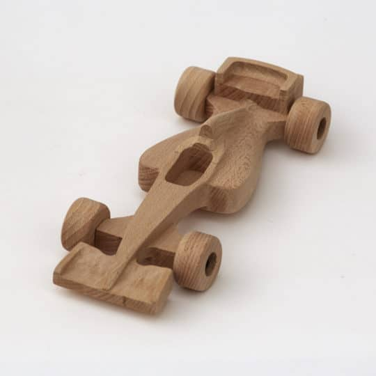 25 cm long formula 1 made from beech - with rotating wheels